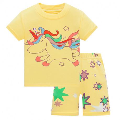 Пижама для девочки, желтая. Нарисованный единорог.