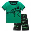 Пижама для мальчика, зеленая. Скелет стегозавра.