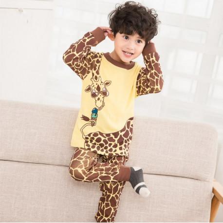 Пижама для мальчика, желтая. Жираф и мороженное.