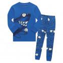 Пижама для мальчика, синяя. Акула и мороженное.