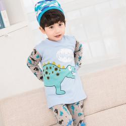 Пижама для мальчика, голубая. Малыш стегозавр.