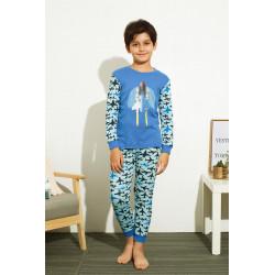 Пижама для мальчика, голубая. Истребитель.