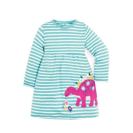 Платье для девочки, голубое. Цветочный стегозавр.