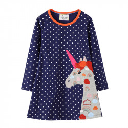 Платье для девочки, синее. Единорог в радуги.