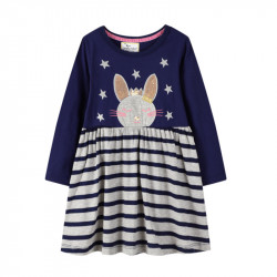 Платье для девочки, синее. Зайка - принцесса.