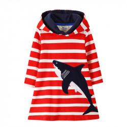 Платье для девочки, красное. Акула.