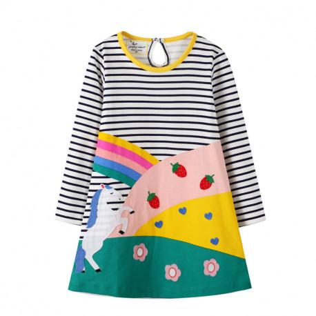 Платье для девочки, разноцветное. Лошадка в поле.