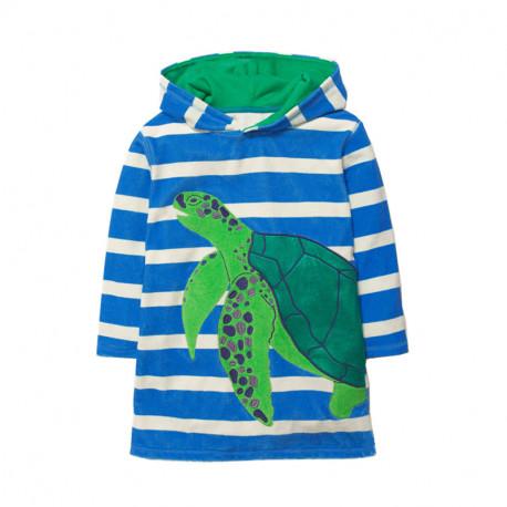Платье для девочки, синие. Черепаха.