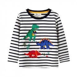 Кофта для мальчика, белая. Динозавры на прогулке.