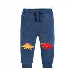 Штаны для мальчика, синие. Трицератопс и стегозавр.