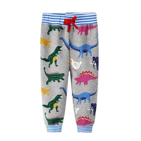 Штаны для мальчика, серые. Древние животные и динозавры.