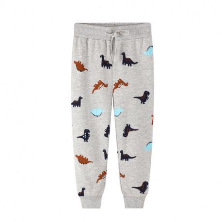 Штаны для мальчика, серые. Малютки динозавры.
