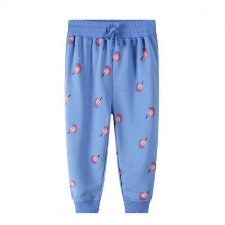 Штаны для девочки, голубые. Единорожки.