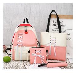 Набор школьный! Рюкзак, сумка, пенал, сумочка. Розовый. Шнуровка.