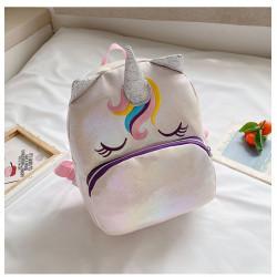 Детский рюкзак, блестящий, розовый. Симпатичный единорог.