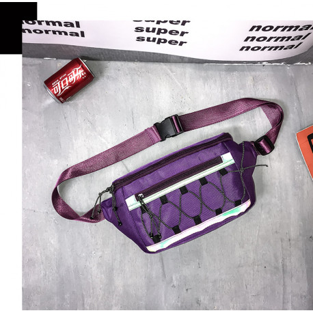 Сумка детская, поясная сумка, фиолетовая. Шнуровка.