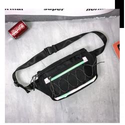 Сумка детская, поясная сумка, черная. Шнуровка.