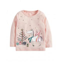 Кофта для девочки, розовая. Новогодний единорог.