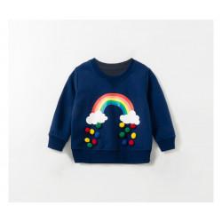 Кофта для девочки, синяя. Разноцветная радуга.
