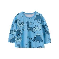 Кофта для мальчика, голубая. Два динозавра и вулкан.