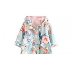 Куртка-ветровка для девочки, мятная. Акварельные цветы.