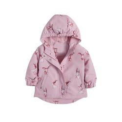 Куртка демисезонная для девочки, розовый. Ушастые зайцы.