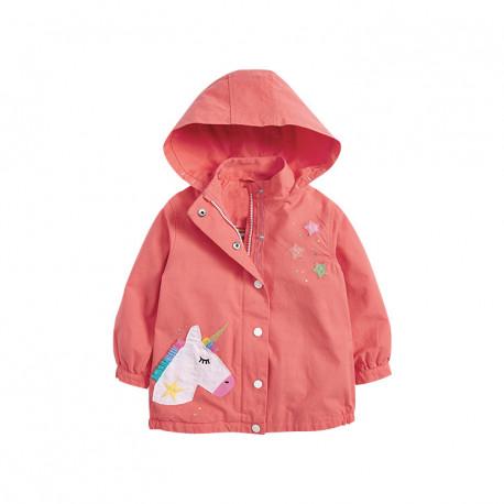 Куртка-ветровка для девочки, коралловая. Единорог и звезды.