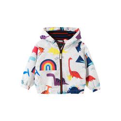 Куртка-ветровка для мальчика, белая. Эра динозавров.