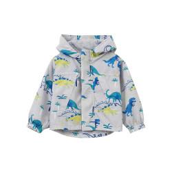 Куртка-ветровка для мальчика, серая. Мир динозавров.