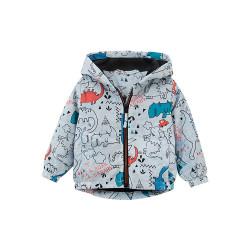 Куртка-ветровка для мальчика, серая. Забавные динозавры.