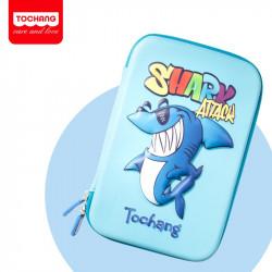 Пенал твердый одинарный, голубой. Гигантская акула.
