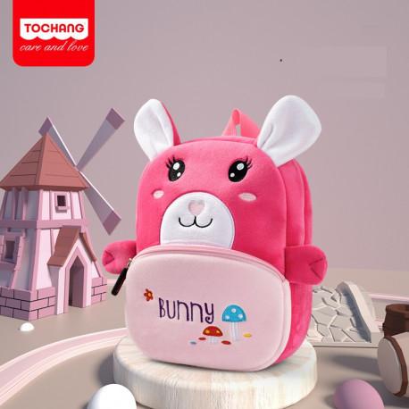 Велюровый рюкзак, розовый. Милый зайка.