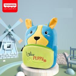 Велюровый рюкзак, голубой. Милый щенок.