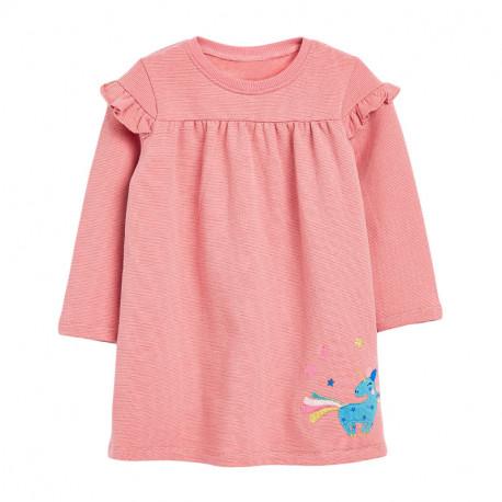 Платье для девочки, розовое. Сказочный единорог.