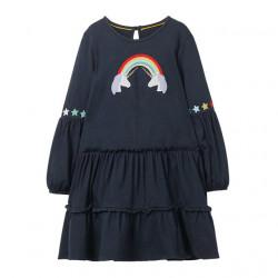 Платье для девочки, синее. Единороги я радуга.