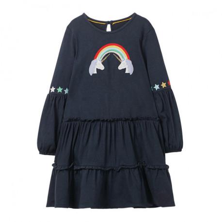 Платье для девочки, синие. Единороги я радуга.