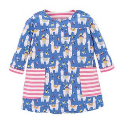 Платье для девочки, синее. Веселые альпаки.
