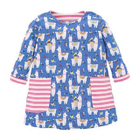 Платье для девочки, синие. Веселые альпаки.