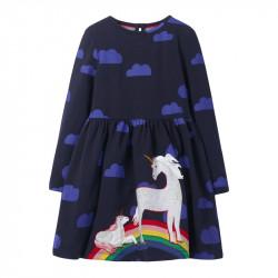 Платье для девочки, темно-синее. Семья единорогов.