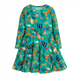 Платье для девочки, зеленое. Экзотические животные.