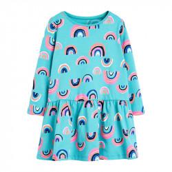 Платье для девочки, голубое. Милые радуги.