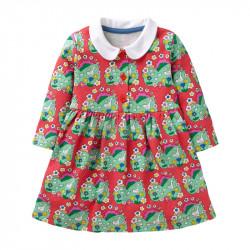 Платье для девочки, красное. Гуси на лугу.
