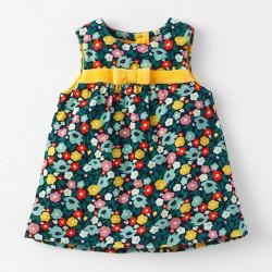 Сарафан велюровый для девочки, темно-синий. Разноцветные цветы.