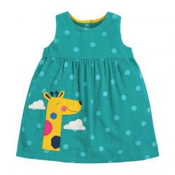 Сарафан велюровый для девочки, бирюзовый. Жираф в облаках.