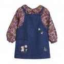 Сарафан джинсовый для девочки, синий. Мышонок с цветочком.