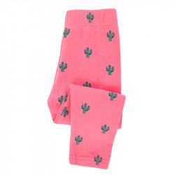 Леггинсы для девочки, розовые. Кактусы.
