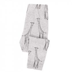 Леггинсы для девочки, серые. Жирафики.