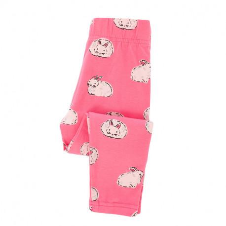 Леггинсы для девочки, розовые. Белые кролики.