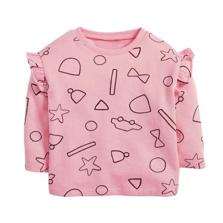 Кофта для девочки, реглан, розовая. Рисунки.