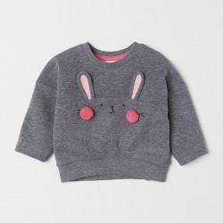 Кофта для девочки, свитшот, серая. Зайчик с щечками.